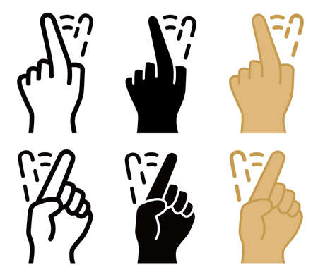 Shake finger to reject, front and back view, line, solid and color style. Stock Illustratie
