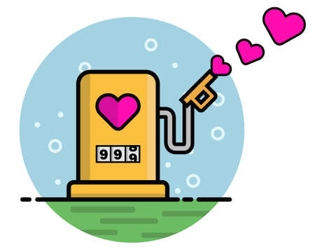 The energy of love, combines the love concept with gas station, vectors Stock Illustratie