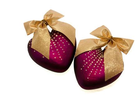 A picture of two violet Christmas hearts Stock Photo - 5909869