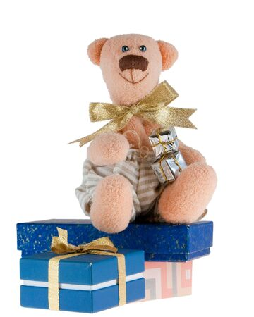 the turn of the year: The picture of funny pink toy bear