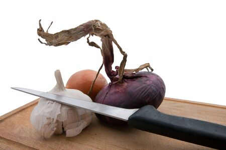 garlics: The picture of the tasty cooking set  Stock Photo