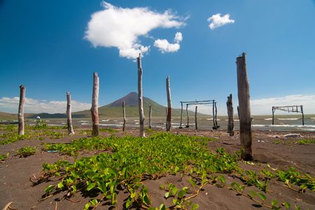 lave: volcano Momotombo. View from the lake of Managua Stock Photo
