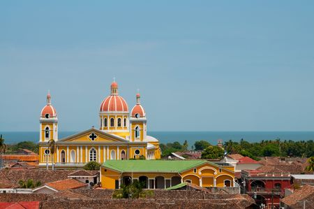 Nicaragua: The picture of the Yellow church in Granada