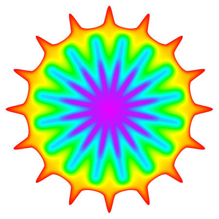 prana: Abstract mandala in rainbow colors isolated on white background.