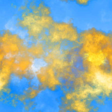 ash cloud: Abstract volcanic smoke. Shiny clouds on blue sky. Seamless   illustration.