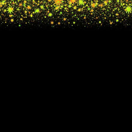 marco cumpleaños: Marco abstracto hecho de estrellas brillantes amarillas sobre fondo negro. Ilustración perfecta.