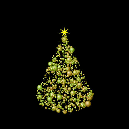 Abstract Christmas tree isolated on black background.