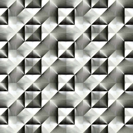 checked: Abstract black and white plastic checked pattern.  Metallic silver 3D surface.  Texture background. Seamless illustration.