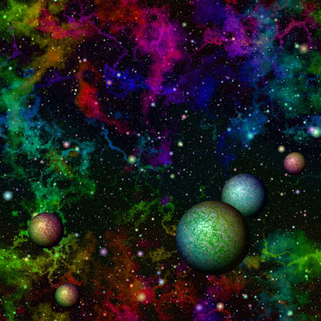 galactic: Abstract dark colorful universe.  Rainbow night starry sky. Multicolor outer space.  Galactic texture background. Seamless illustration.