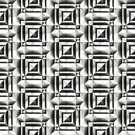 checked background: Abstract black and white plastic checked pattern.  Metallic silver 3D surface.  Texture background. Seamless illustration.