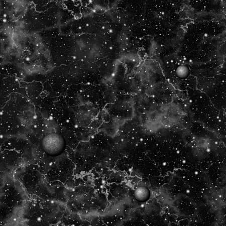 dark nebula: Abstract dark universe.  Nebula night starry sky. Black and white outer space.  Galactic texture background. Seamless illustration.