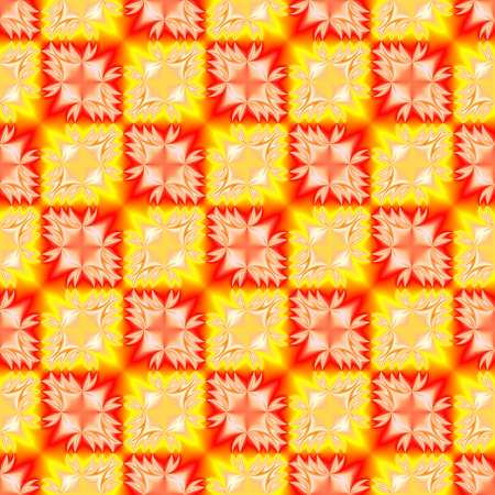 tiled: Abstract red and yellow checked pattern. Tiled texture background. Seamless illustration.