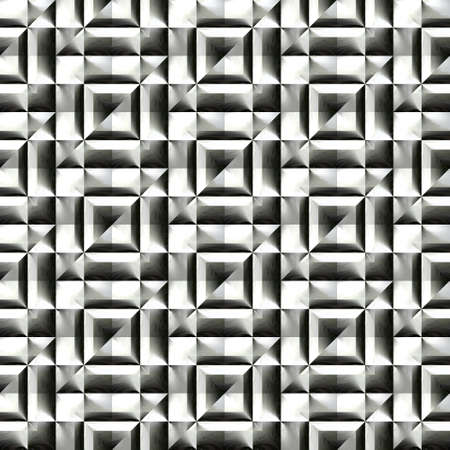 checked background: Abstract black and white plastic pattern.  Metallic silver 3D surface. Checked relief.  Texture background. Seamless illustration.