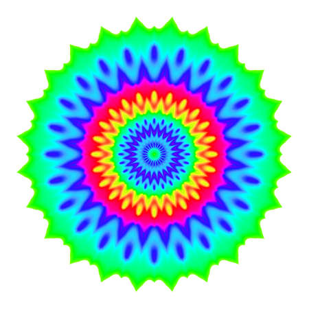 Abstract mandala in rainbow colors. Flower isolated on white background. Colorful bloom. Multicolor esoteric petal mandala.
