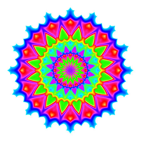 bloom: Abstract mandala in rainbow colors. Flower isolated on white background. Colorful bloom. Multicolor esoteric petal mandala.