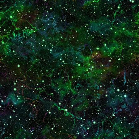 the silence of the world: Abstract dark green universe.  Cloudy night starry sky. Glittering nebula outer space.  Galactic texture background. Seamless illustration. Stock Photo