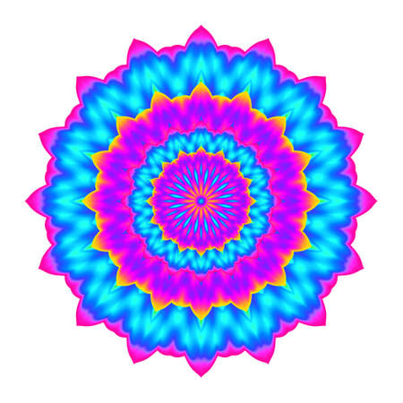Abstract colorful mandala. Flower isolated on white background. Multicolor bloom. Esoteric petal mandala. Stock Photo