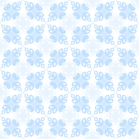 leafy: Abstract light blue petal pattern on white background.  Leafy tile texture. Seamless illustration. Stock Photo