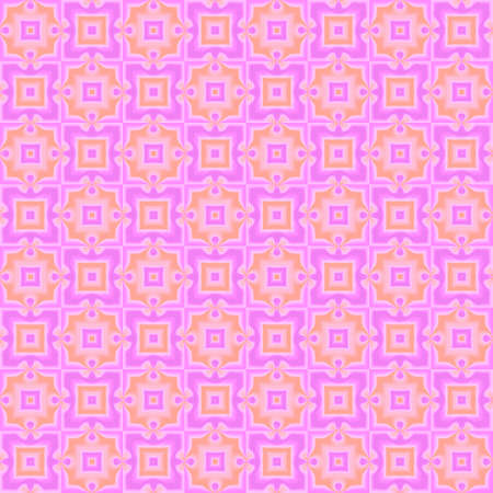 Abstract magenta and orange ornate checked pattern. Purple tile texture background. Seamless illustration.