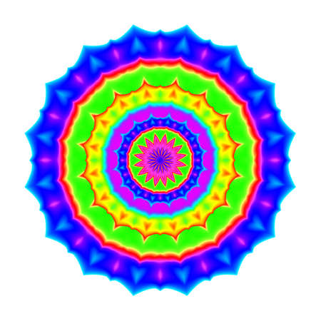 prana: Abstract mandala in rainbow colors. Flower isolated on white background. Colorful bloom. Multicolor esoteric petal mandala.