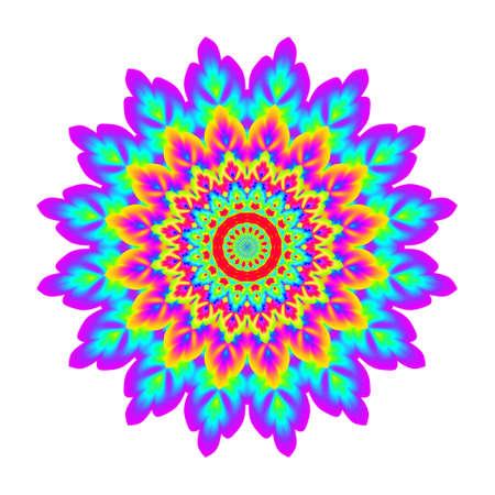 무지개 색 추상 만다라. 꽃은 흰색 배경에 고립입니다. 화려한 꽃. 여러 가지 빛깔의 비의 꽃잎 만다라. 스톡 콘텐츠