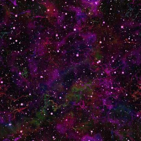 galactic: Abstract dark violet universe. Purple nebula night starry sky. Magenta shiny outer space. Galactic texture background. Seamless illustration.