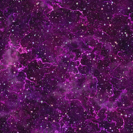 Abstract violet universe.  Shiny nebula night starry sky. Purple outer space.  Glittering galactic texture background. Seamless illustration. Imagens - 69684517