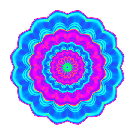 Abstract blue, pink and cyan esoteric petal mandala. Colorful flower isolated on white background. Multicolor bloom.