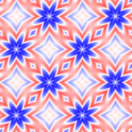 Abstract blue, red and white floral pattern, Tile texture background, Seamless illustration