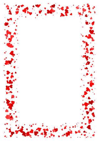 빨간 하트 흰색 배경에 고립 된 사랑 테두리와 A4 용지 발렌타인 데이 카드의 만든 추상 직사각형 프레임
