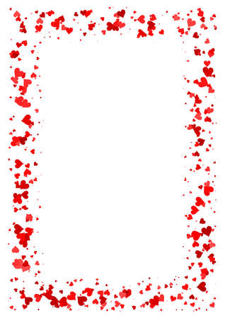 Abstract rectangle frame made of red hearts isolated on white background, A4 paper with love motive border, Valentine Day card 版權商用圖片