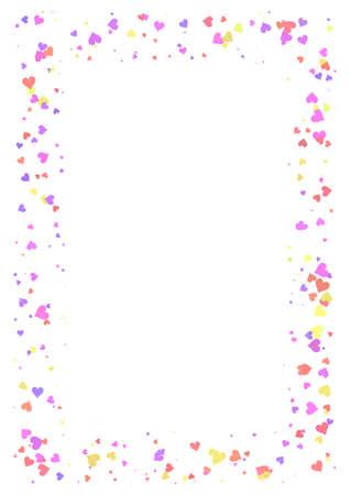 Struttura astratta di rettangolo fatta dei cuori variopinti isolati su fondo bianco, carta A4 con il confine di motivo di amore, carta di Valentine Day, illustrazione multicolore