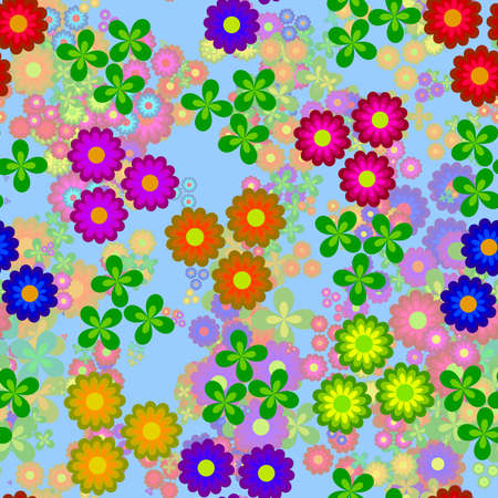 cloverleaf: Abstract colorful floral pattern, Multicolor flowers on light blue background, Blooms in rainbow colors, Petal texture, Seamless illustration Stock Photo