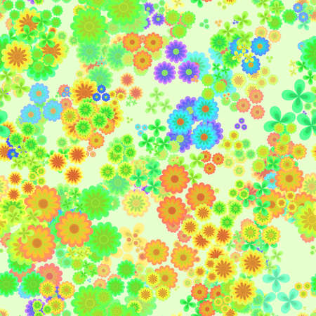 Abstract colorful floral pattern, Multicolor flowers on light background, Green, yellow, orange and blue blooms, Petal texture, Seamless illustration Stock Photo
