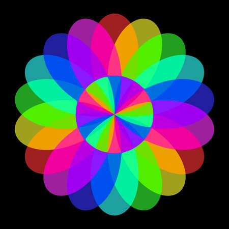 Abstract mandala in rainbow colors, Flower isolated on black background, Colorful bloom, Multicolor esoteric petal mandala Stock Photo