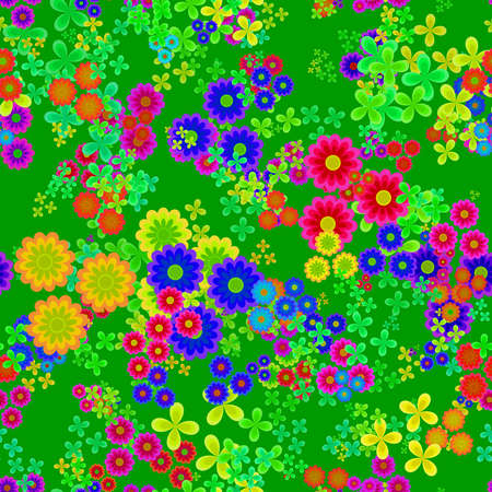 Abstract colorful floral pattern, Multicolor flowers on green background, Blooms in rainbow colors, Petal texture, Seamless illustration Stock Photo