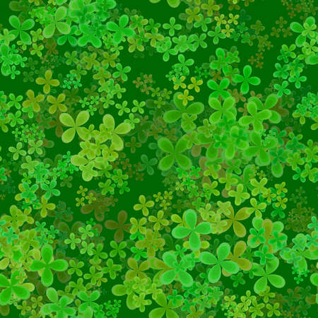 repetitive: Abstract leafy spring pattern, Green leaves on dark background, Cloverleaf texture, Seamless four leaf clover illustration