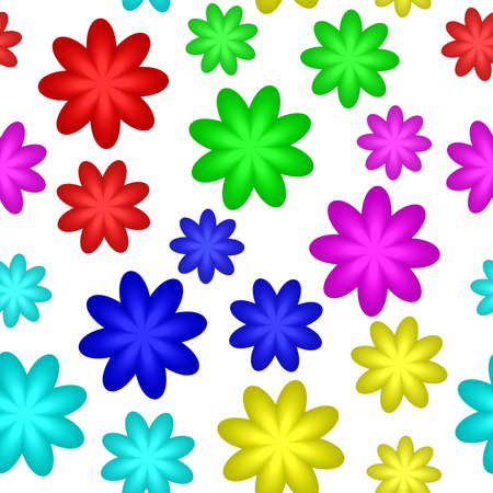 repetitive: Abstract colorful floral pattern, Multicolor flowers isolated on white, Blooms in rainbow colors, Petal texture background, Simple seamless illustration