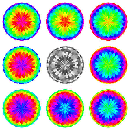 spiritual energy: Abstract mandala set in rainbow colors, Flowers isolated on white background, Colorful blooms, Multicolor esoteric petal mandalas
