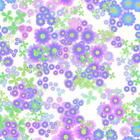 Abstract flowers, Blue, pink, violet and green floral pattern, Leaves and blooms, Colorful petal leafy texture background, Seamless illustration