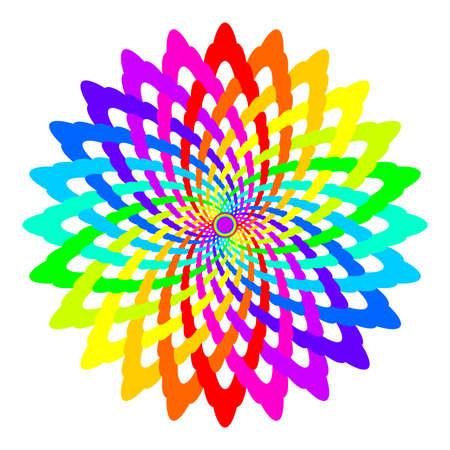 prana: Abstract rainbow colored mandala, Flower isolated on white background, Colorful bloom, Multicolor esoteric petal mandala Stock Photo