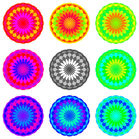 prana: Abstract mandala set in rainbow colors, Flowers isolated on white background, Colorful blooms, Multicolor esoteric petal mandalas