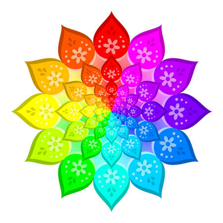 Abstract rainbow colored mandala, Flower isolated on white background, Colorful bloom, Multicolor esoteric petal mandala Stock Photo