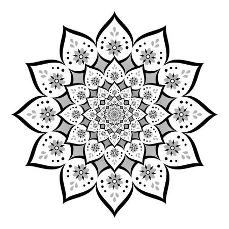 Abstract mandala, Flower isolated on white background, White and black ornate bloom, Esoteric petal mandala