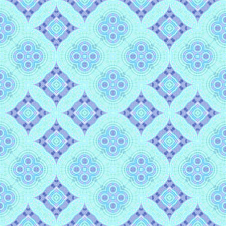 Abstract blue, cyan and violet tile pattern, Ornate tiled texture background, Seamless illustration 版權商用圖片