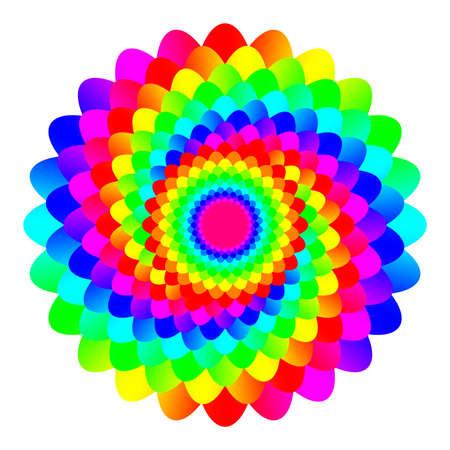 추상 무지개 색깔 만다라, 흰색 배경에 고립 된 꽃, 화려한 꽃, 여러 가지 빛깔의 밀교 꽃잎 만다라