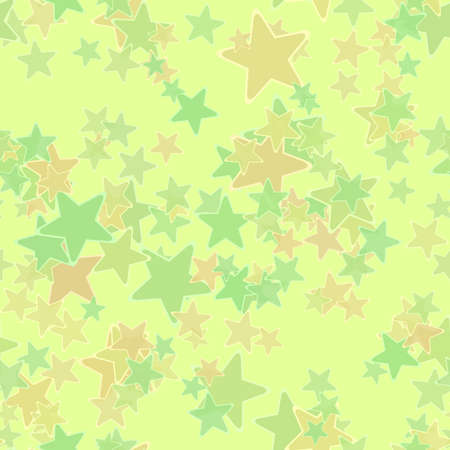 Abstract green and orange stars, Starred pattern on light background, Simple starry texture, Seamless illustration