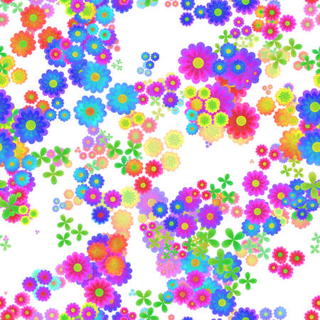 Abstract colorful floral pattern, Multicolor flowers on white background, Blooms in rainbow colors, Petal texture, Seamless illustration