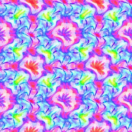추상 화려한 꽃 패턴, 여러 가지 빛깔의 타일 질감 배경, 원활한 그림