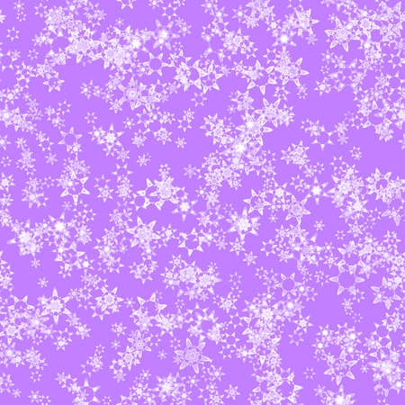 Abstract light snowflake pattern on violet background, Winter texture, Seamless illustration